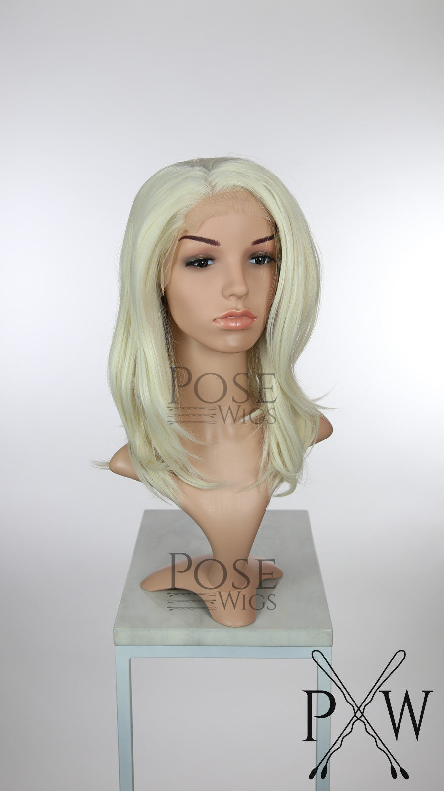 White Blonde Medium Length Straight Lace Front Wig - Princess Series LP147