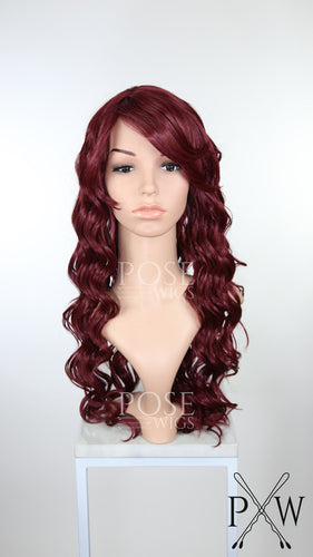 Burgundy Long Curly Hair with Bangs Fashion Wig HSKEY50