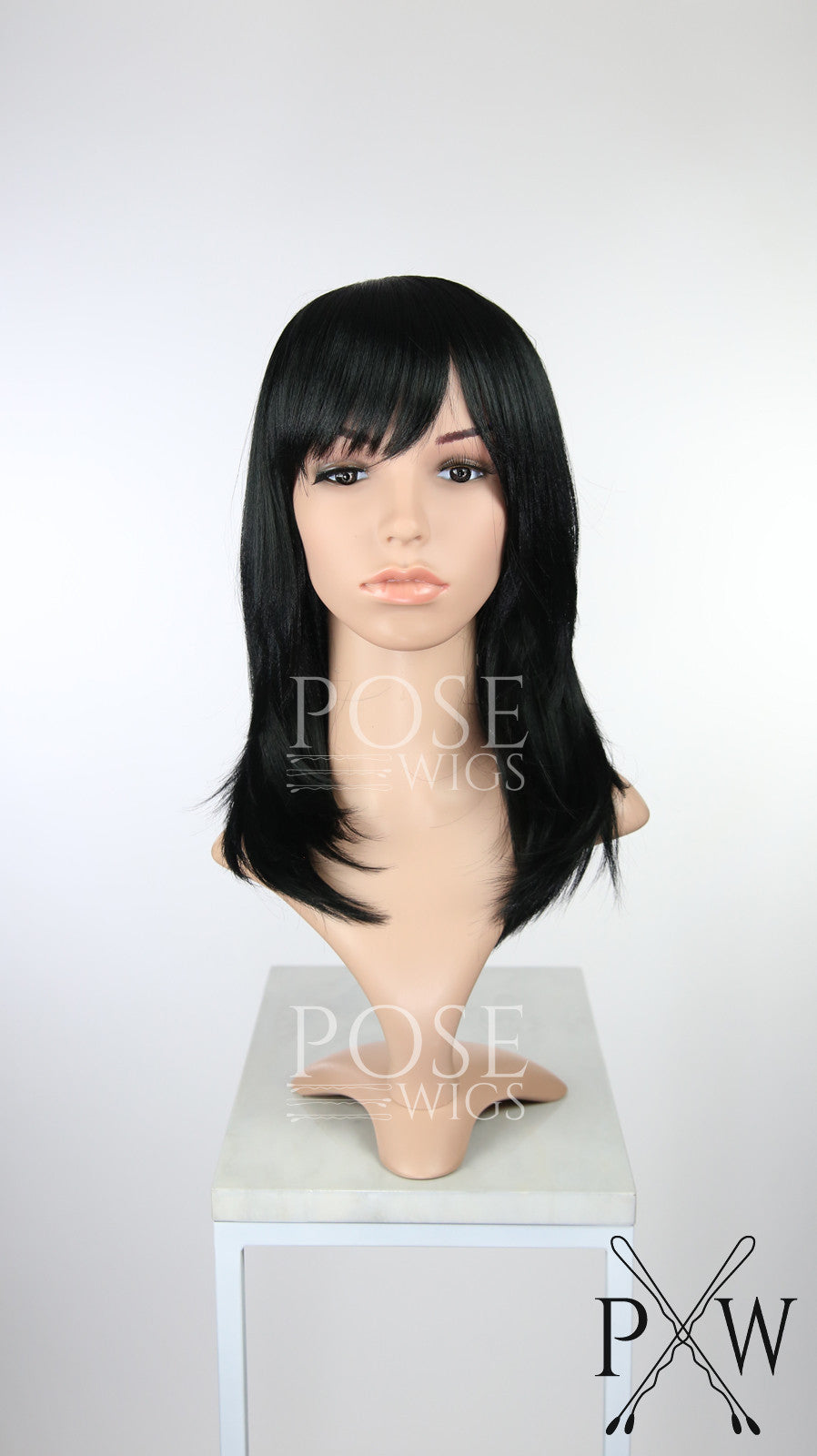 Black Medium Length Straight Bob with Bangs Fashion Wig HSKLY1