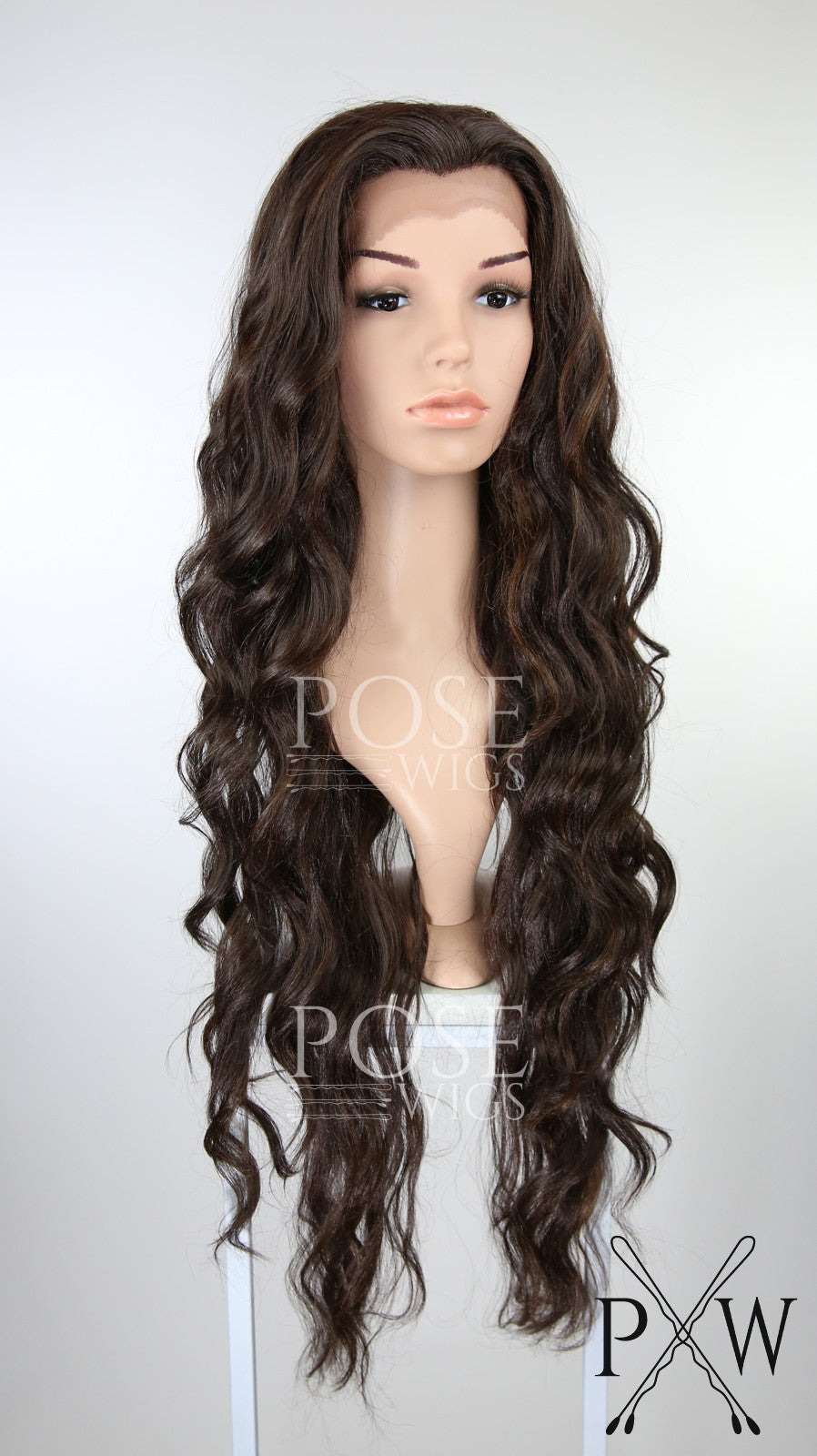 Dark Brown with Highlights Long Curly Lace Front Wig - Lady Series LLMON11
