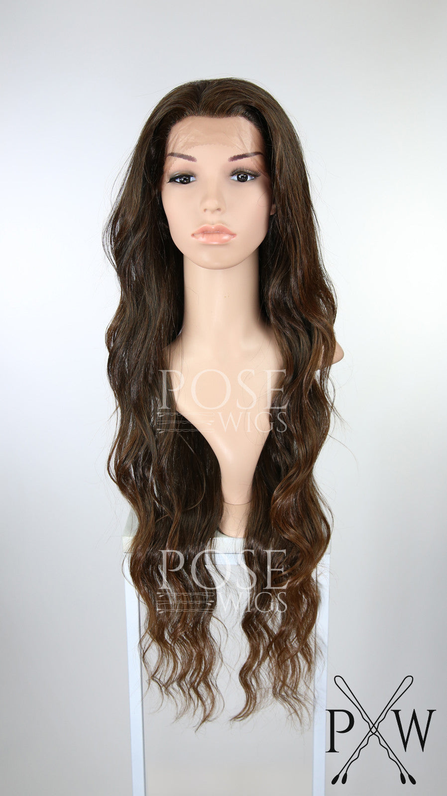 Red Brown Ombre Long Curly Lace Front Wig - Lady Series LLMON96