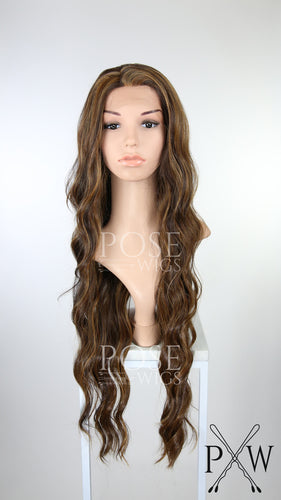 Dark Brown with Highlights Long Curly Lace Front Wig - Lady Series LLMON18
