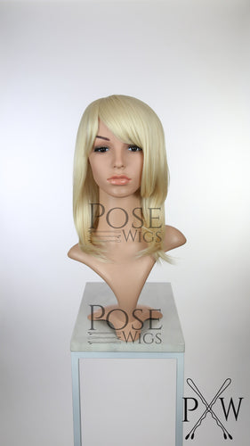 Blonde Medium Length Straight Bob with Bangs Fashion Wig HSKLY44