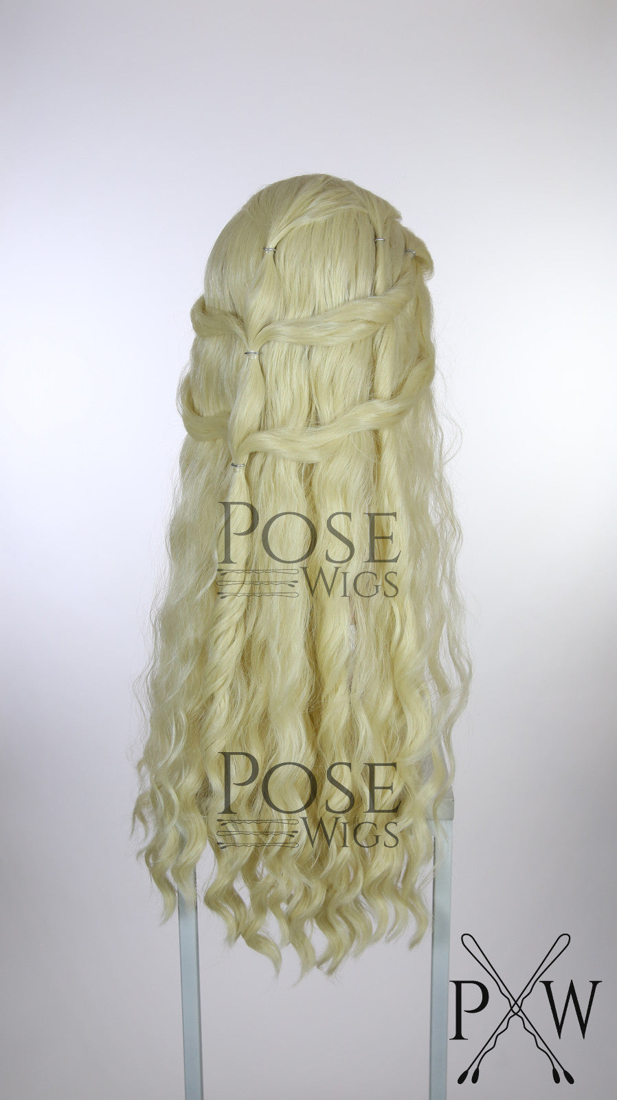 Khaleesi Wig Light Blonde Custom Braided Long Curly Lace Front Wig - LQ039