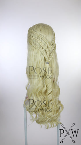 Daenerys Targaryen Cosplay Wig Light Blonde Custom Braided Long Curly Lace Front Wig - Six Dutch Braids - LQ040