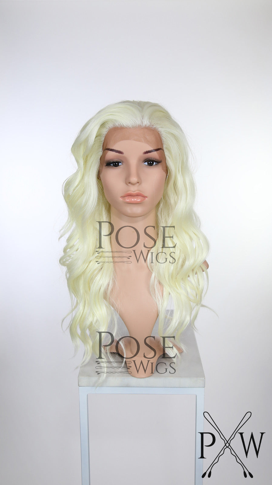 White Blonde Long Wavy Lace Front Wig - Lady Series LLYVO45