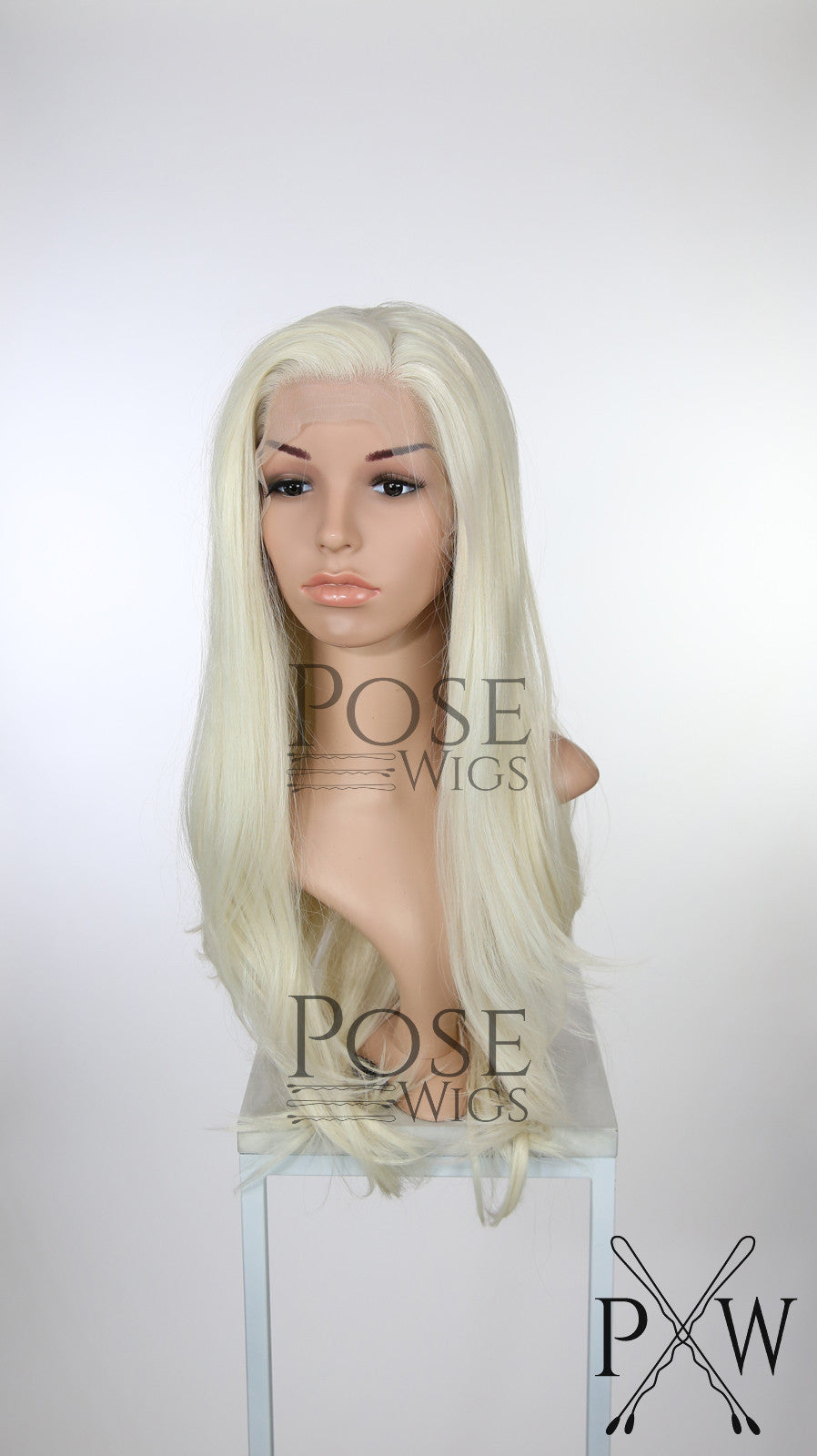 White Blonde Long Straight Lace Front Wig - Princess Series LP017