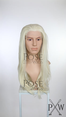 Mens White Blonde Long Straight Lace Front Wig - LP017