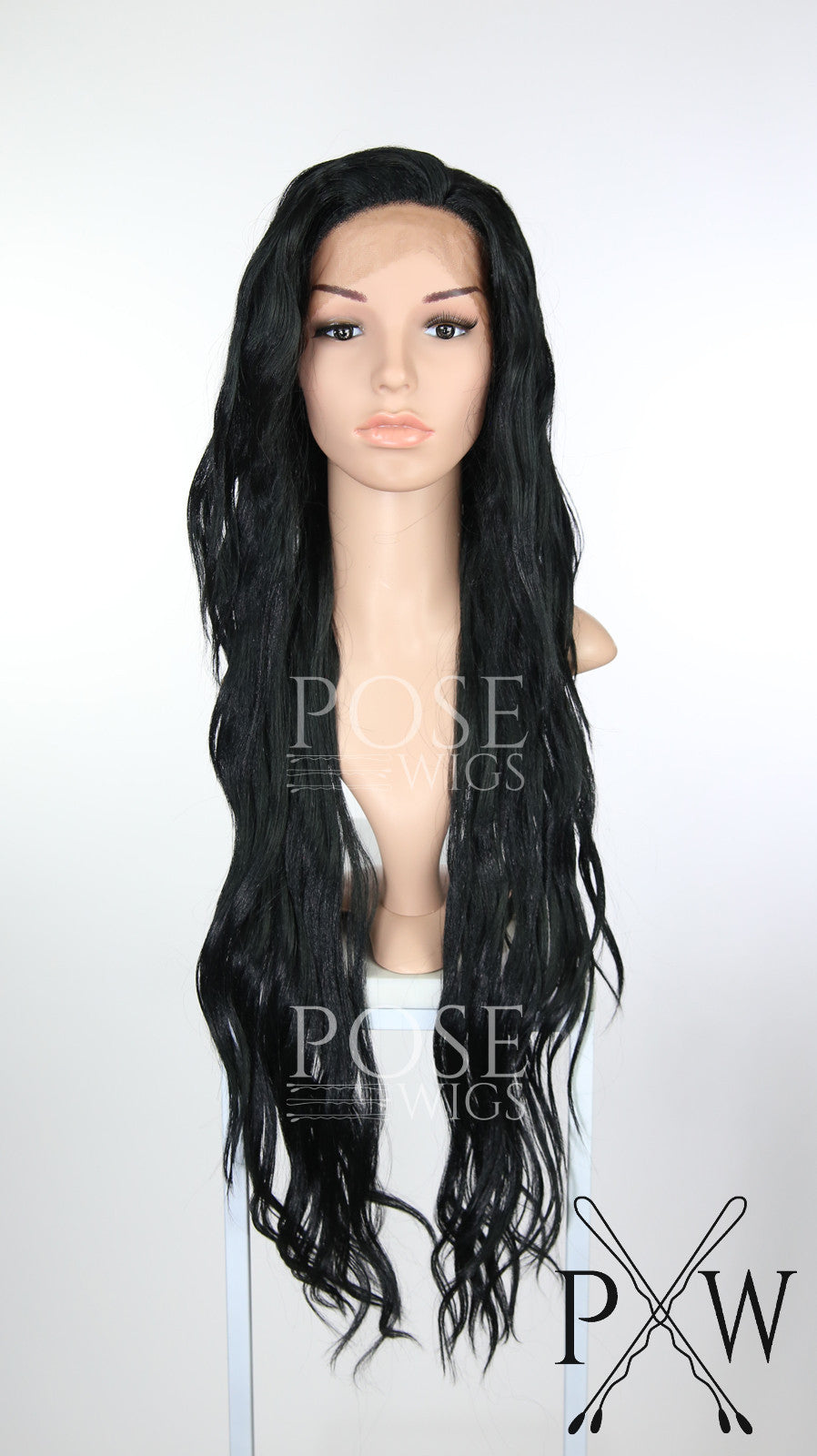 Black Long Curly Lace Front Wig - Lady Series LLMON1 Pose Wigs