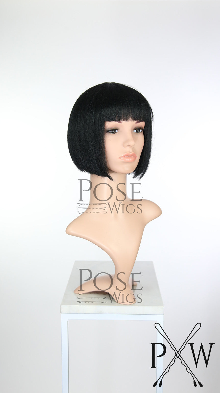 Black Short Straight Bob with Bangs Fashion Wig HSNIR1