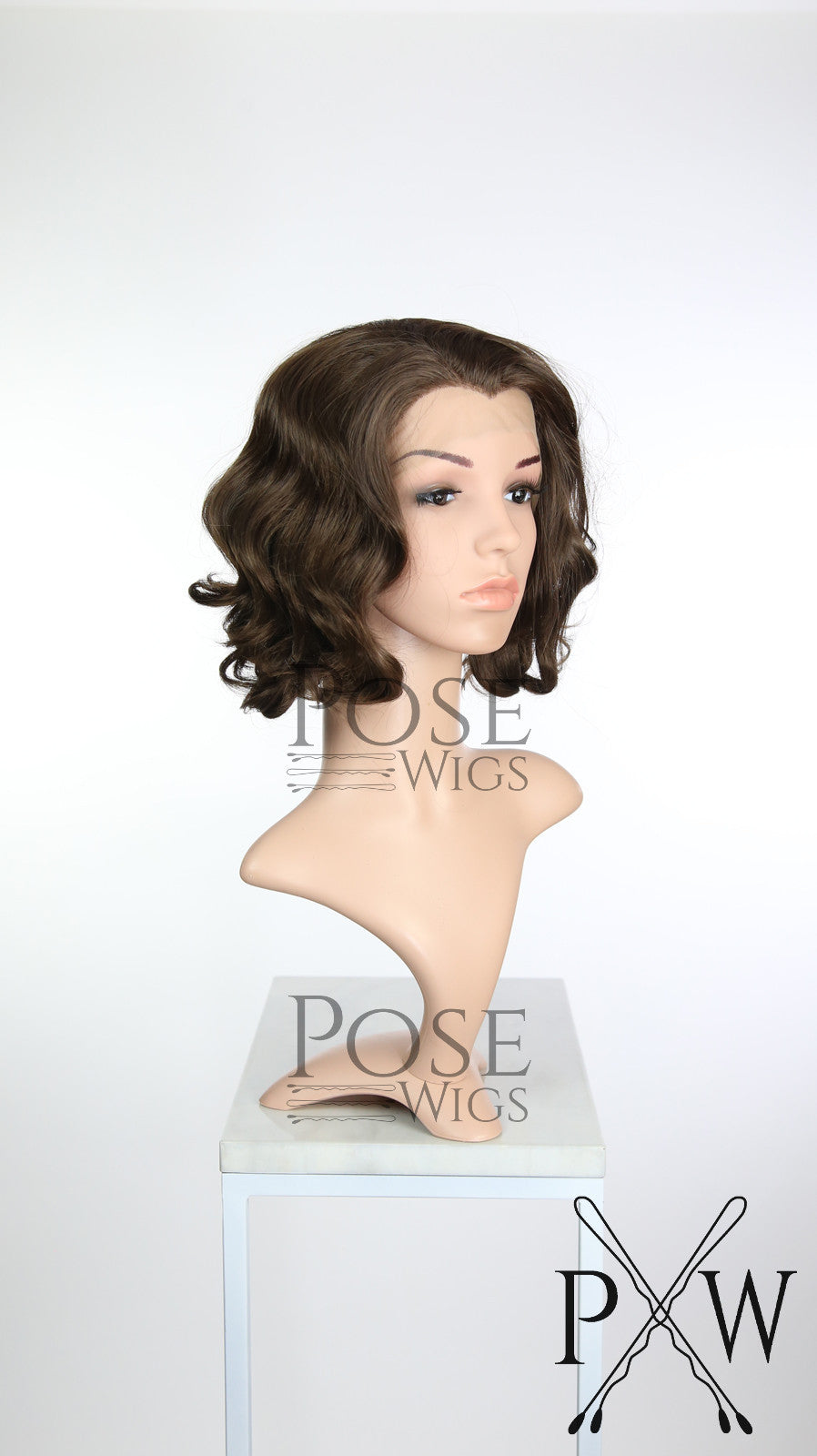 Brown Medium Length Curly Bob Lace Front Wig - Princess Series LP155