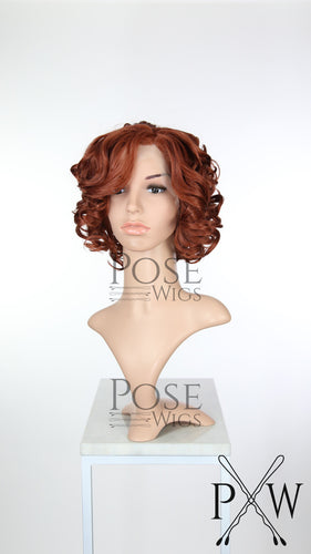 Black Widow Cosplay Wig Red Short Curly Bob Lace Front Wig - Princess Series LP032
