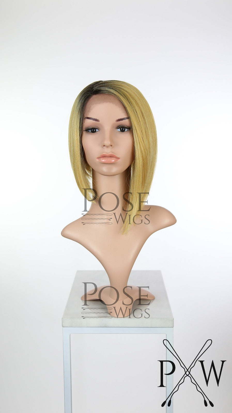 Golden Blonde Ombre Short Straight Bob Lace Front Wig - Lady Series LLVIR84