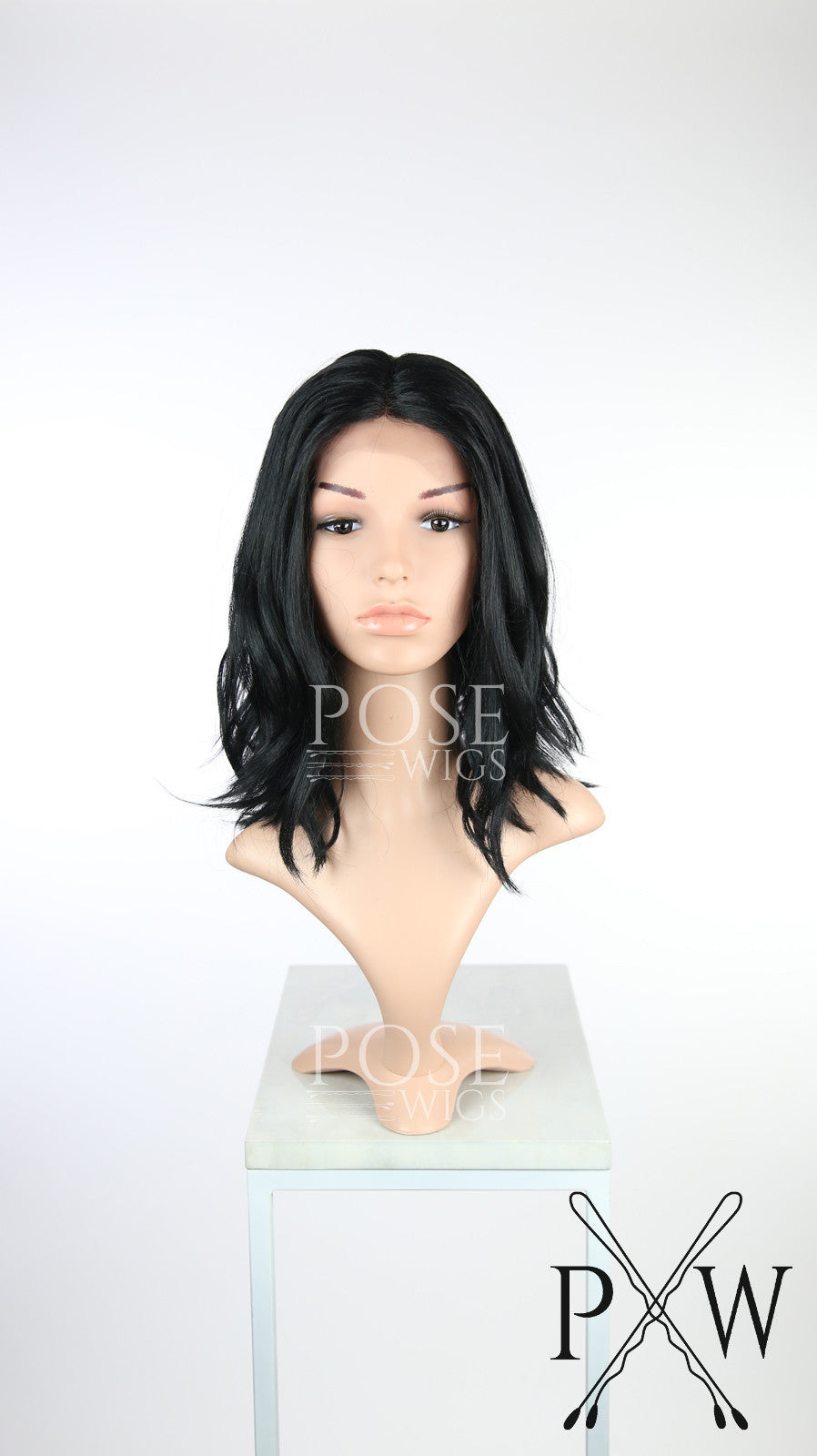 Black Medium Length Wavy Bob Lace Front Wig - Lady Series LLHAT1