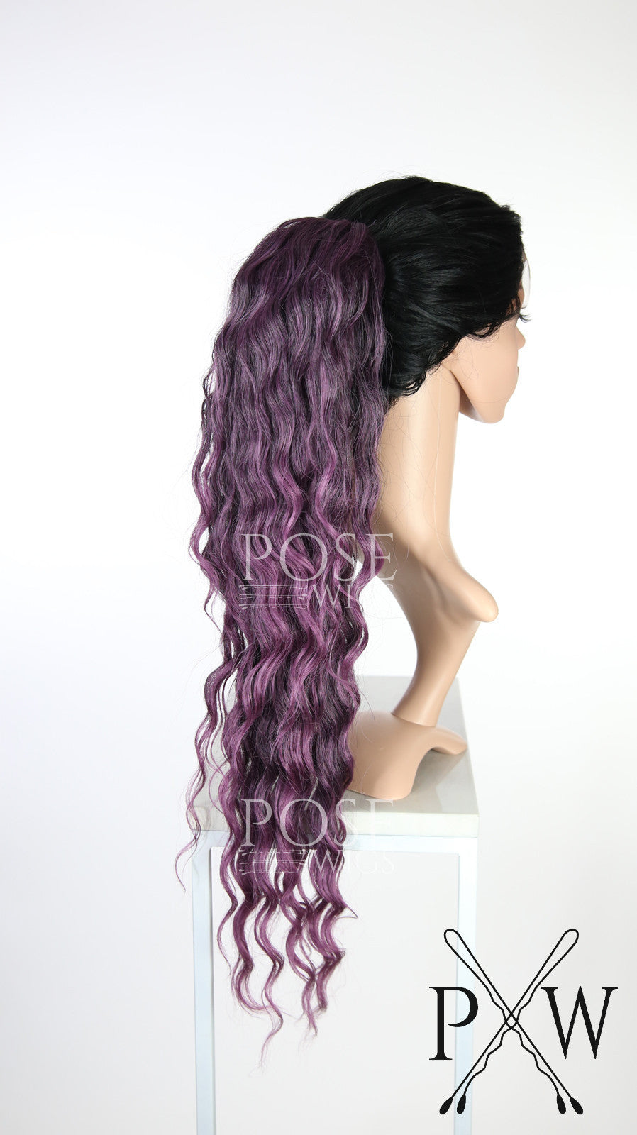 Purple Mix Long Curly Ponytail Hairpiece HPESE232