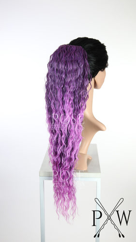 Purple Pink Ombre Long Curly Ponytail Hairpiece HPBLA233
