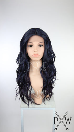 Galaxy Mix Long Curly Lace Front Wig Black Purple Blue Teal - Duchess Series LDORN229