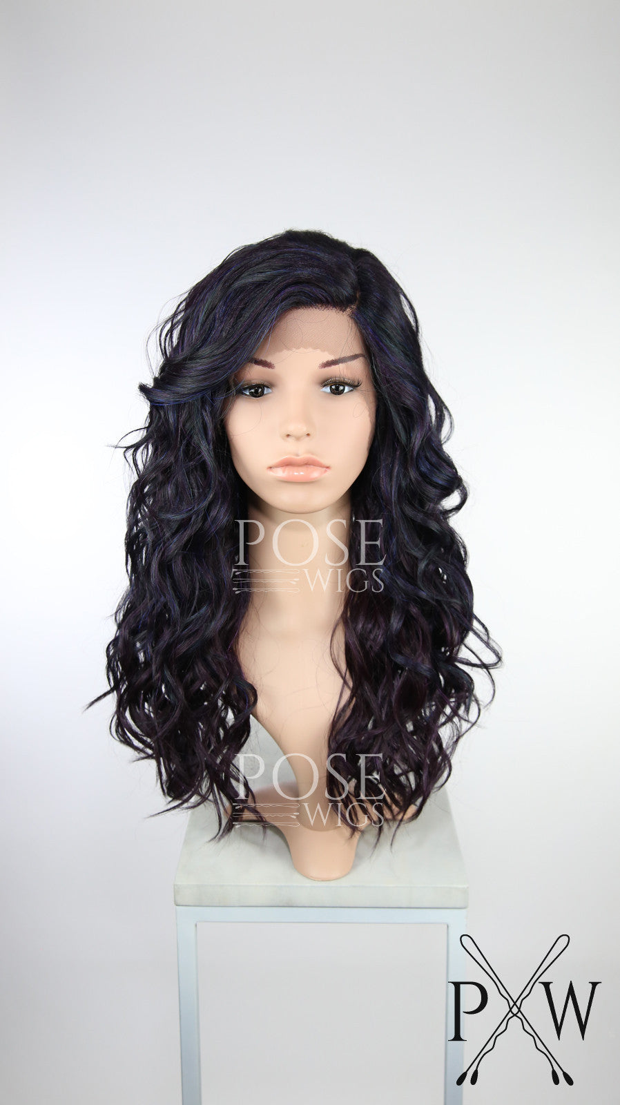 Galaxy Mix Long Curly Lace Front Wig Black Purple Blue Teal - Duchess Series LDCAL230
