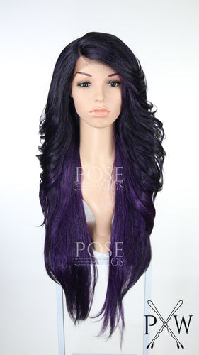 Dark Purple Ombre Long Wavy Lace Front Wig - Lady Series LLPRU75
