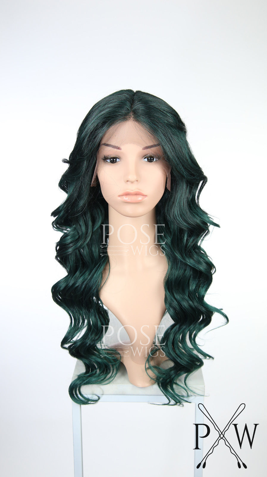 Dark Teal Green Ombre Long Curly Lace Front Wig - Duchess Series LDSAA231