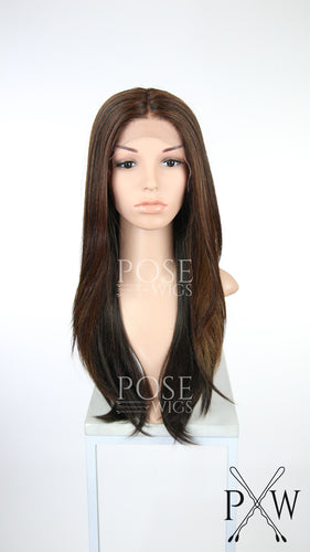 Brown with Highlights Long Straight Lace Front Wig - Duchess Series LDTWI239