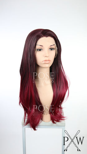 Burgundy Ombre Long Straight Lace Front Wig - Princess Series LP119