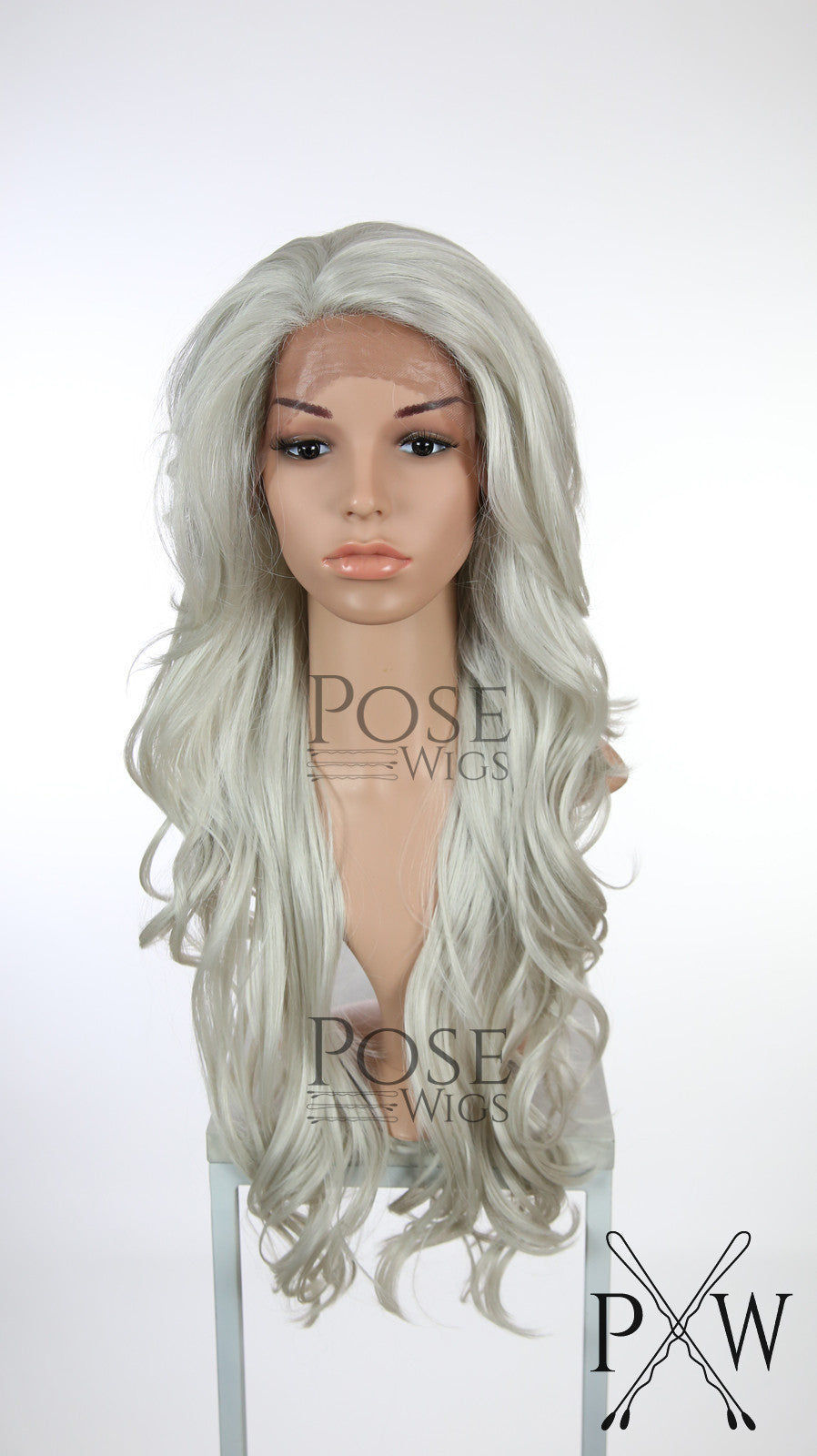 Silver Grey Long Wavy Lace Front Wig - Lady Series LLKIM68