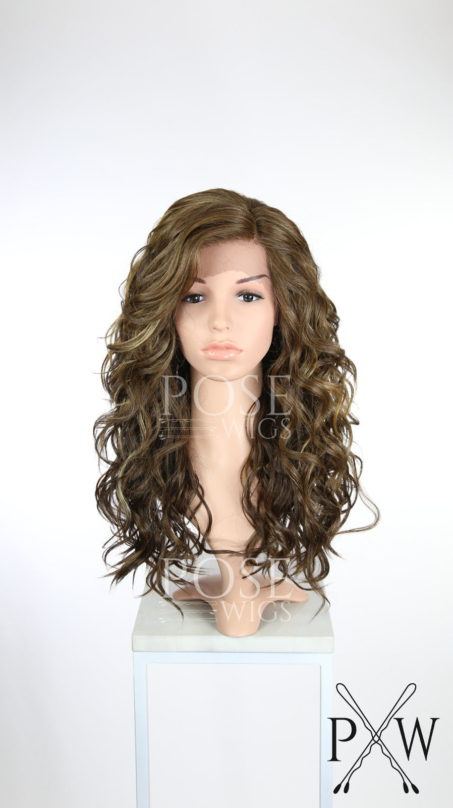 Brown with Highlights Long Curly Lace Front Wig - Duchess Series LDCAL26