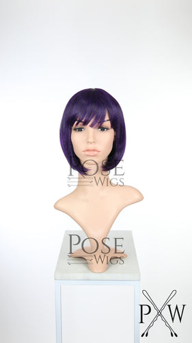 Dark Purple Short Straight Bob with Bangs Fashion Wig HSRAZ189
