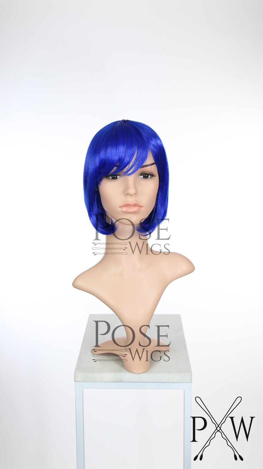 Blue Short Straight Bob with Bangs Fashion Wig HSRAZ148
