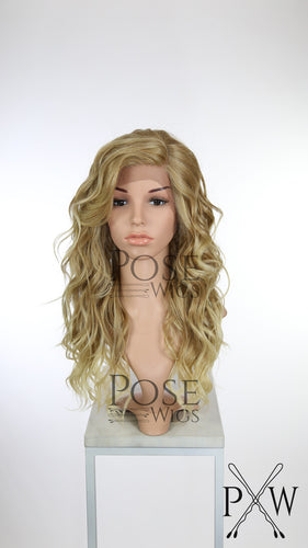 Strawberry Blonde Ombre Long Curly Lace Front Wig - Duchess Series LDCAL91