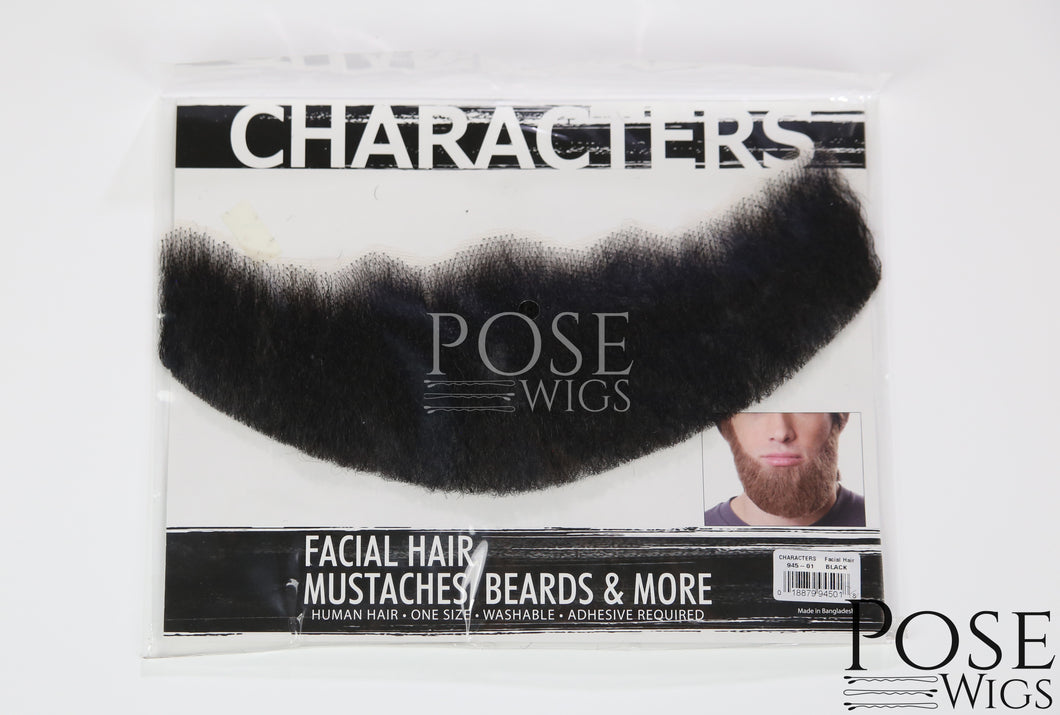 Black Beard 100% Human Hair on Lace Backing BEARD945Black
