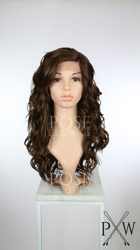 Dark Brown with Highlights Long Curly Lace Front Wig - Duchess Series LDCAL18