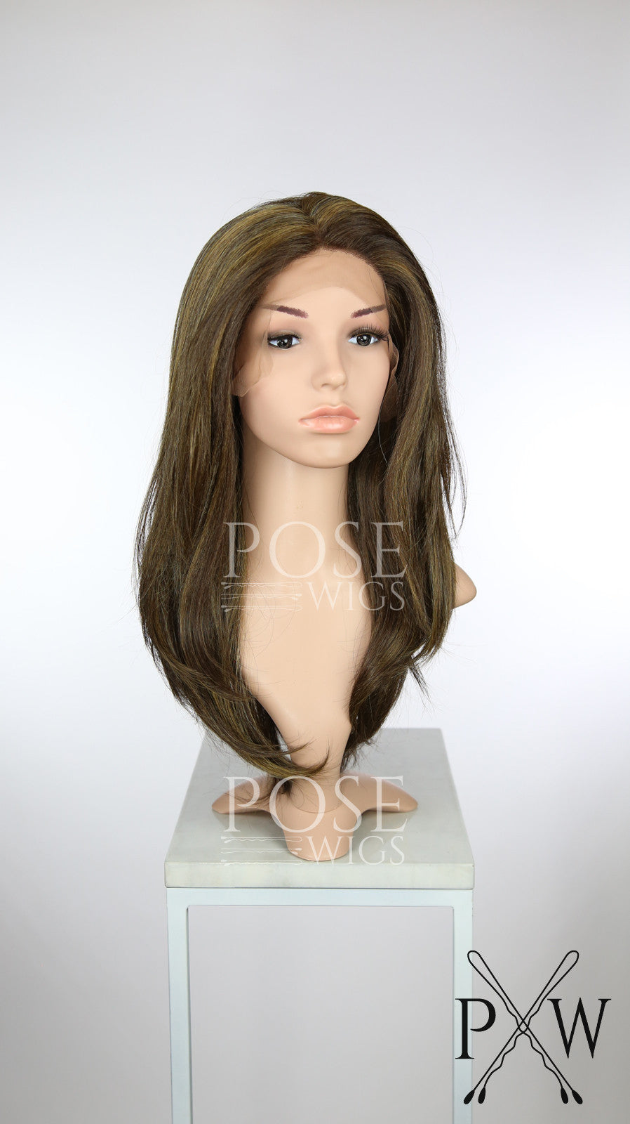 Brown with Highlights Long Straight Lace Front Wig - Special Full Lace Top Duchess Series LDEVE26