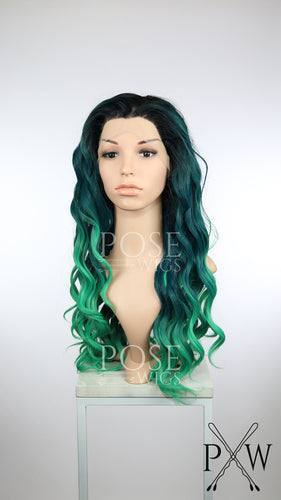 Green Ombre Long Curly Lace Front Wig - Princess Series LP182