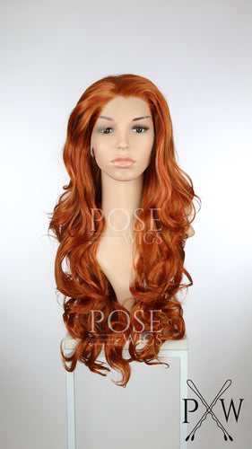 Copper Red Long Curly Lace Front Wig - Princess Series LP186