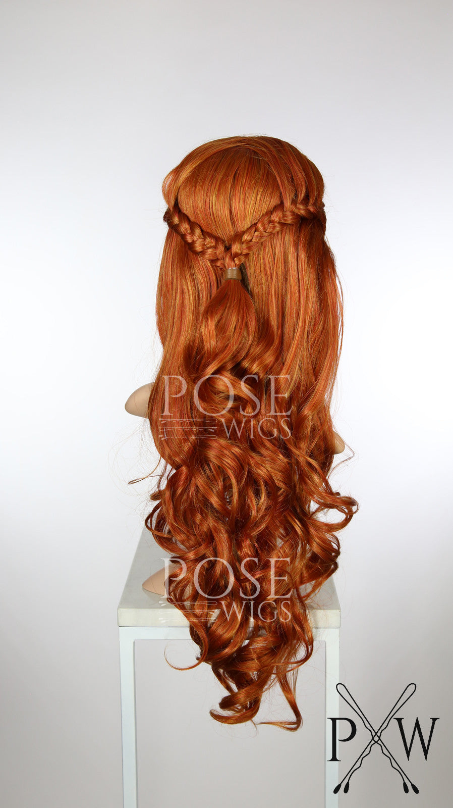 Copper Red Custom Braided Long Curly Lace Front Wig - Two French Braids - Princess Series LP186