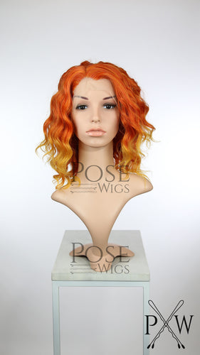 Red and Gold Ombre Medium Length Curly Lace Front Wig - Princess Series LP185