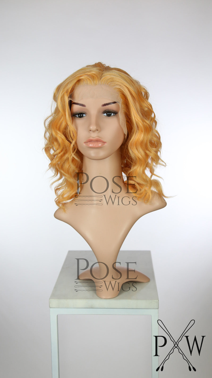 Peach Mix Medium Length Curly Lace Front Wig - Princess Series LP180