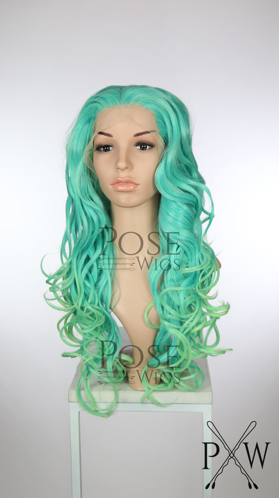 Aqua Ombre Long Curly Lace Front Wig - Princess Series LP187