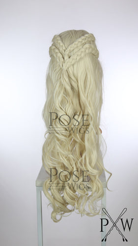 White Blonde Braided Long Curly Lace Front Wig - Four Dutch Braids - Princess Series LP057
