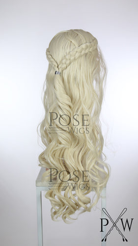 White Blonde Custom Braided Long Curly Lace Front Wig - Two Dutch Braids - Princess Series