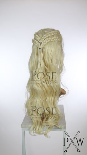 Crystal Blonde Custom Braided Long Curly Lace Front Wig - Four Dutch Braids - Princess Series