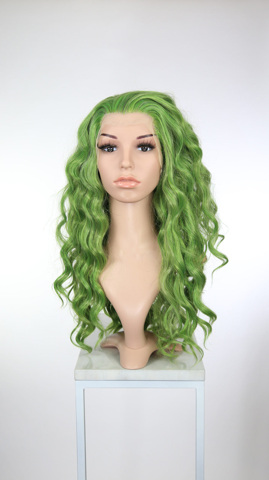 Acid Green Mix Long Curly Lace Front Wig - Princess Series LP193