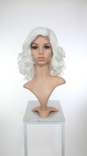 White Medium Length Curly Lace Front Wig - Duchess Series LDREA69
