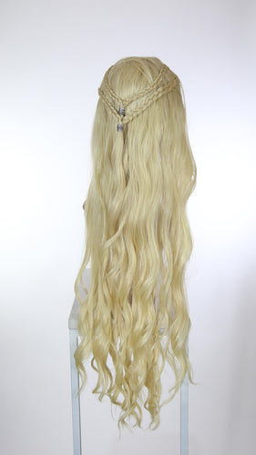 Blonde Custom Braided Long Curly Lace Front Wig - Four Dutch Braids - Lady Series