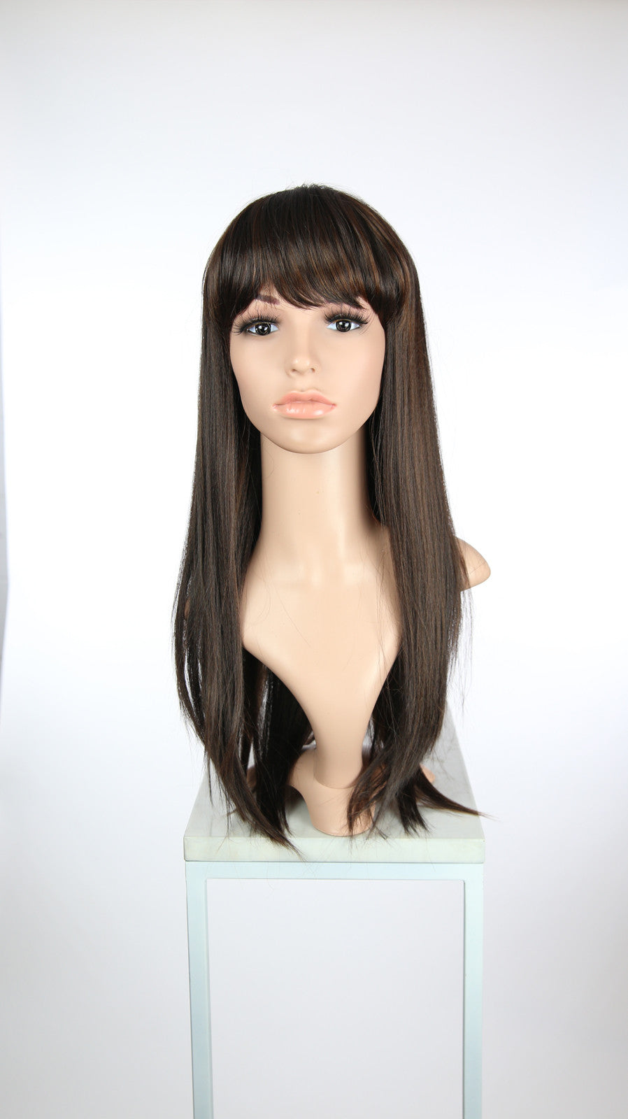 Dark Brown With Highlights Long Straight With Bangs Fashion Wig