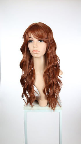 Red Long Curly Hair with Bangs Fashion Wig - Large 23