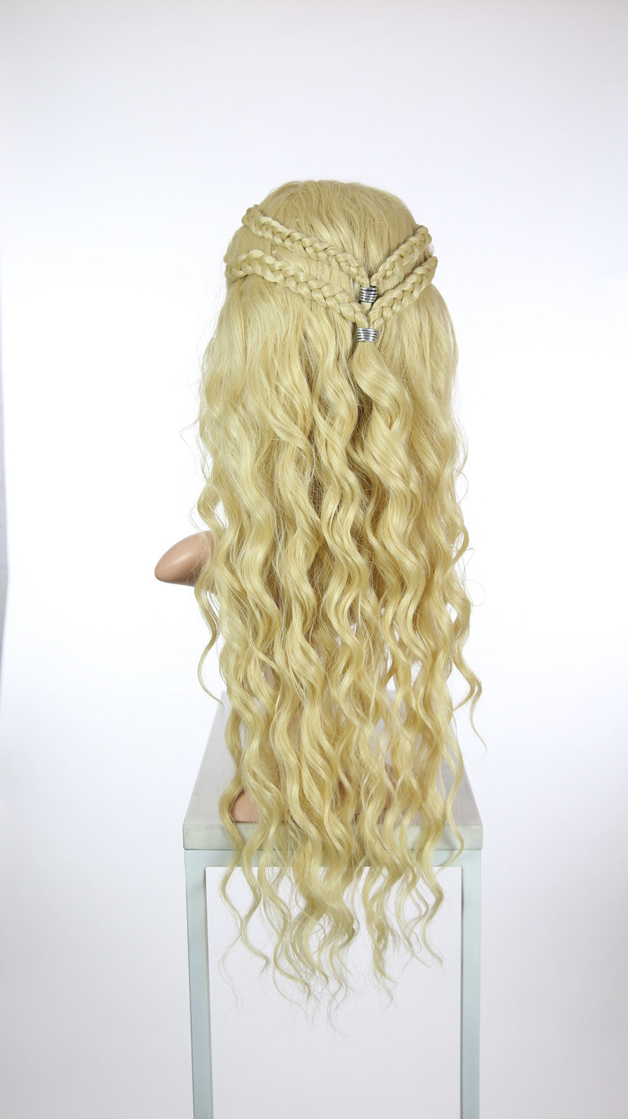 Blonde Custom Braided Long Curly Lace Front Wig - Four Dutch Braids - Duchess Series LDNIX44