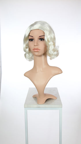 White Short Finger Wave Vintage Curls Costume Fashion Wig FETE69
